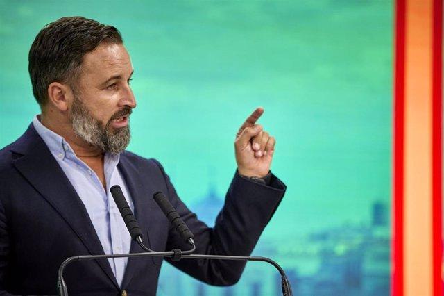 El presidente de Vox, Santiago Abascal, interviene en una rueda de prensa del Comité de Acción Política de Vox, en su sede nacional, a 30 de agosto de 2021, en Madrid, (España).