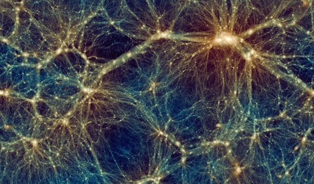 Instantánea de Uchuu que muestra la distribución a gran escala de la materia del universo
