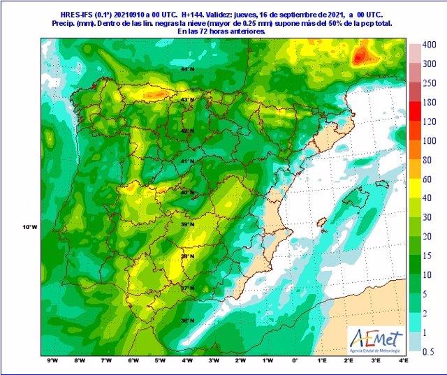 Mapa facilitado por la Aemet sobre la previsión de chubascos generalizados en CyL a partir del lunes