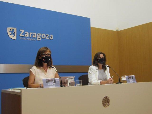 La concejal de Igualdad del Ayjntaniento de Zaragoza, María Fe Antoñanzas, y la jefa del Servicio de Igualdad, Ana Gaspar