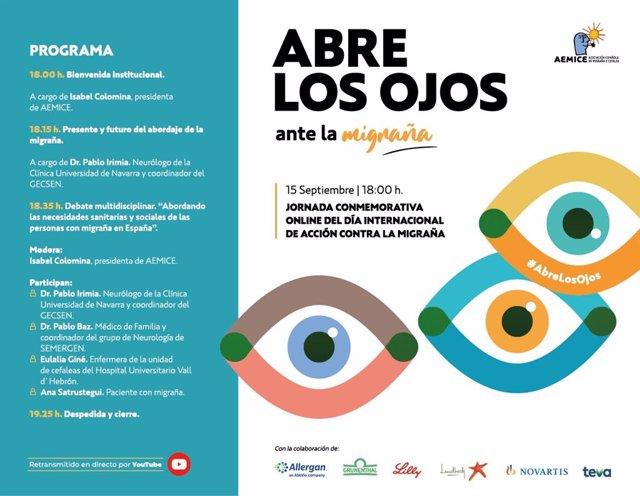 Campaña 'Abre los ojos ante la migraña'.