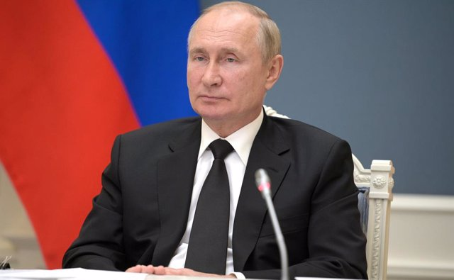 HANDOUT - 09 September 2021, Russia, Moscow: Russian President Vladimir Putin participates in the virtual BRICS summit via a video link. Photo: -/Kremlin/dpa - ATTENTION: editorial use only and only if the credit mentioned above is referenced in full