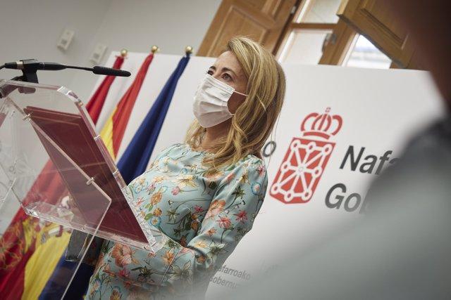 La ministra de Transportes, Movilidad y Agenda Urbana, Raquel Sánchez durante una rueda de prensa junto a la presidenta de Navarra, en el Palacio de Navarra, a 10 de septiembre de 2021, en Pamplona, Navarra (España).