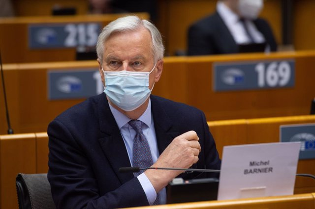 Archivo - HANDOUT - 27 April 2021, Belgium, Brussels: European Commission's Head of Task Force for Relations with the United Kingdom, Michel Barnier, attends a debate on the EU-UK trade and cooperation agreement on the second day of a plenary session at t
