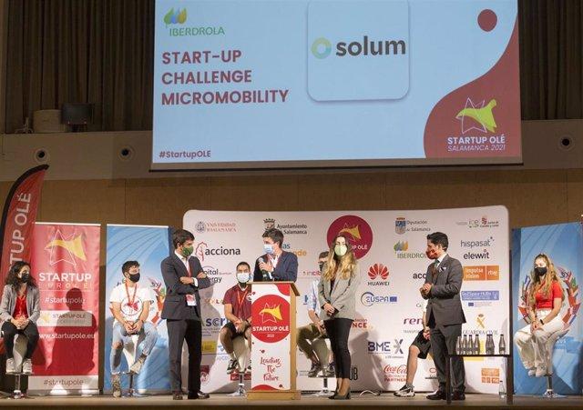 Entrega de premios en Startup Olé en Salamanca.