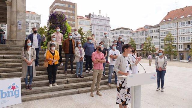 La portavoz del BNG, Ana Pontón, en Ferrol