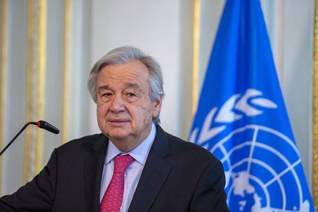 Archivo - 24 June 2021, Belgium, Brussels: UN Secretary-General Antonio Guterres speaks during a press conference with Belgian Prime Minister Alexander De Croo (Not Pictured) after their meeting. Photo: Nicolas Maeterlinck/BELGA/dpa