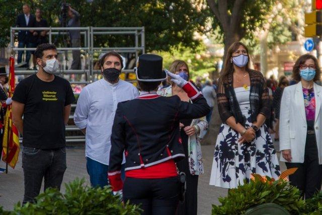 Ofrena de l'Mesa  del Parlament davant el moment de Rafael Casanova a Barcelona per la Diada, encapçalada per la seva presidenta, Laura Borràs