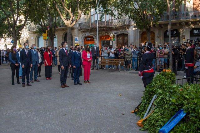 Ofrena del Govern de la Generalitat davant el moment de Rafel Casanova a Barcelona per la Diada, encapçalat per Pere Aragonès, Jordi Puigneró i Laura Vilagrà