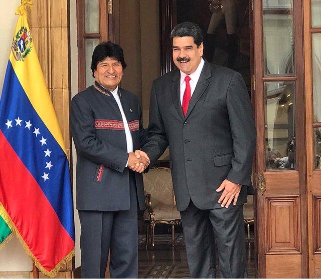 Archivo - Los presidentes de Bolivia, Evo Morales, y Venezuela, Nicolás Maduro