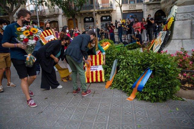 Ofrena d'En Comú Podem (ECP) davant el moment de Rafael Casanova a Barcelona per la Diada, encapçalada per Jéssica Albiach