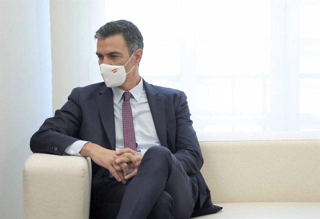 El president del Govern, Pedro Sánchez, en el Palau de la Moncloa, a 7 de setembre de 2021, a Madrid (Espanya). En la seva segona visita oficial a Espanya, Piñera s'ha reunit prèviament amb el Rei de la nació i el viatge s'emmarca dins d'una gira
