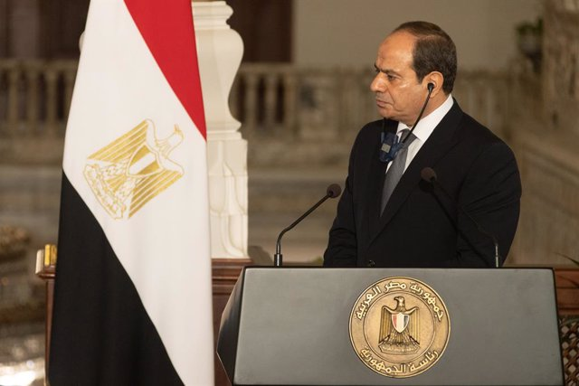 HANDOUT - 04 September 2021, Egypt, Cairo: President of Egypt Abdel Fattah Al-Sisi attends a joint press conference with the President of Cyprus Nicos Anastasiades (not pictured) at the Presidential Palace. Photo: Stavros Ioannidis/Cypriot Government/dpa