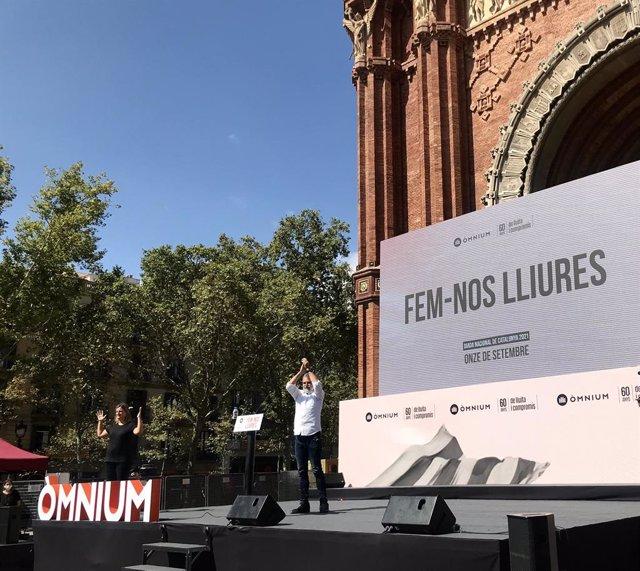 El president d'Òmnium, Jordi Cuixart, en l'acte de l'entitat amb motiu de la Diadad de Catalunya
