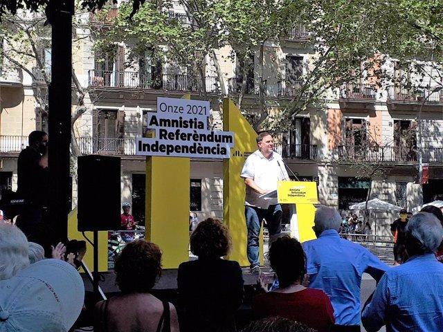 El líder d'ERC, Oriol Junqueras, en un acte del partit per la Diada a Barcelona