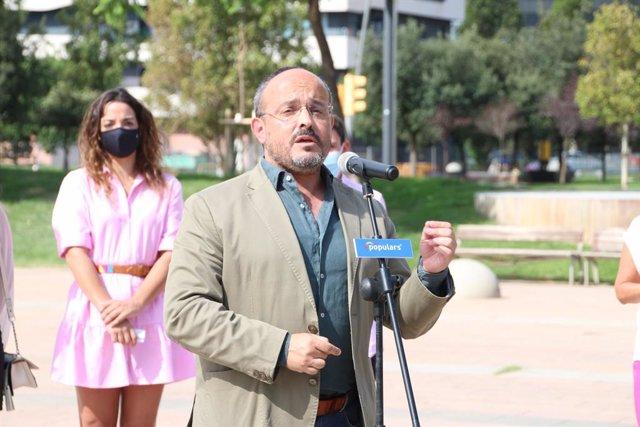 El líder del PP català, Alejandro Fernández, a les seves declaracions durant la Diada