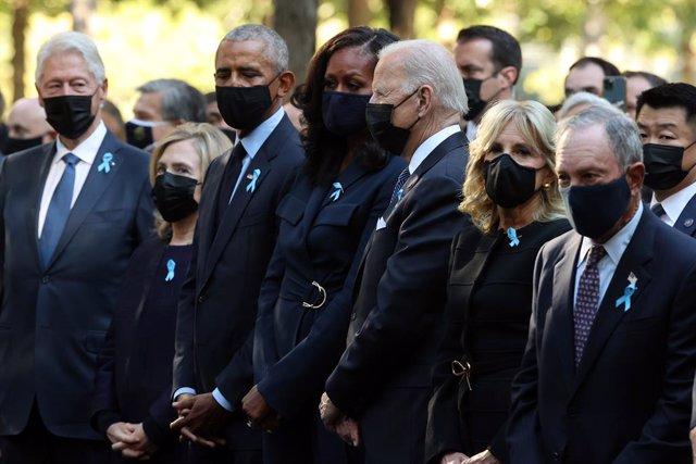 Joe Biden, Barack Obama y Bill Clinton en la ceremonia del 11-S en Nueva York