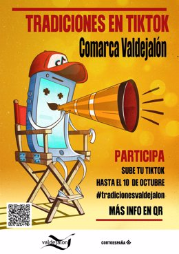 """Cartel del certamen """"TikTok Tradiciones Comarca Valdejalón"""""""