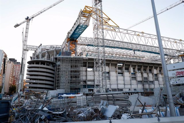 Detail of the state of the exterior works of the new Santago Bernabeu Stadium on August 19, 2021, in Madrid, Spain. Real Madrid will play in mid-September 2021 the first game in the new stadium with its fans since the state of alarm was decreed by Covid19