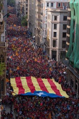 Manifestación de la ANC por la Diada en la Via Laietana de Barcelona