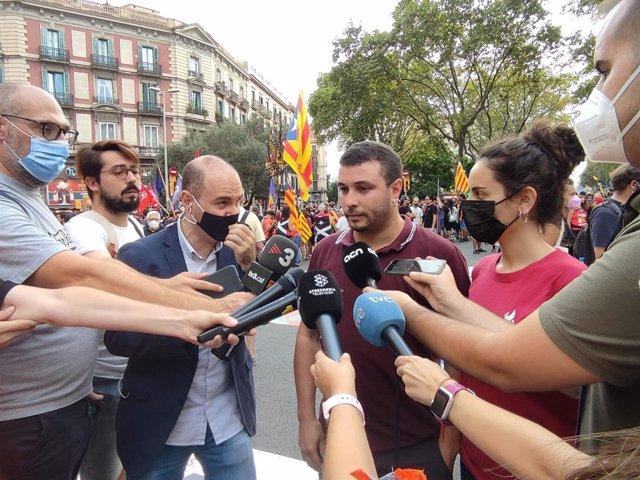 El portaveu del Secretariat Nacional de la CUP, Edgar Fernández, en la manifestació de l'ANC per la Diada a Barcelona