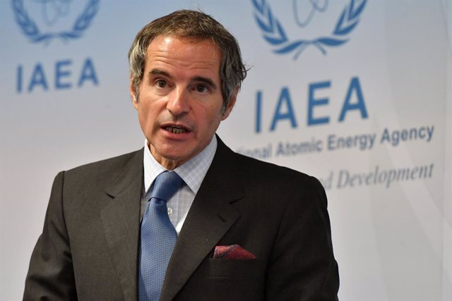 Archivo - HANDOUT - 07 June 2021, Austria, Vienna: Director General of the International Atomic Energy Agency (IAEA) Rafael Mariano Grossi speaks during a press conference after the 1579th Board of Governors Meeting held at the Agency headquarters in Vien