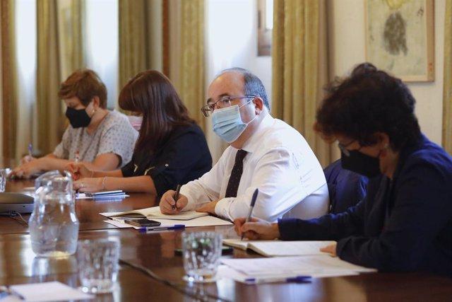 El ministre de Cultura i Esport, Miquel Iceta, durant una reunió a la seu del Ministeri.