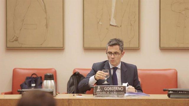 El ministro de la Presidencia, Relaciones con las Cortes y Memoria Democrática, Félix Bolaños,
