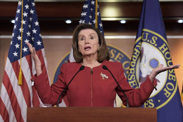 08 September 2021, US, Washington: US Speaker of the House Nancy Pelosi speaks during her weekly news conference at the US Capitol. Photo: Lenin Nolly/ZUMA Press Wire/dpa
