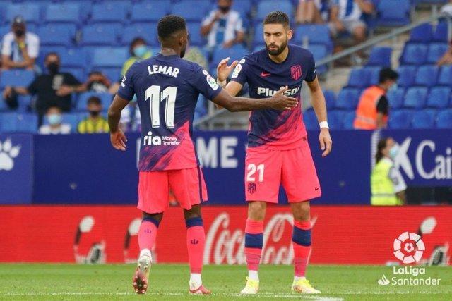 Thomas Lemar y Yannick Carrasco con el Atlético de Madrid