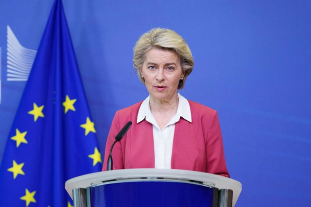 Archivo - FILED - 27 July 2021, Belgium, Brussels: European Commission President Ursula von der Leyen give a statement about a new milestone in the EU Vaccines Strategy, at the European Commission, in Brussels. Leyen is calling for the United States to sw