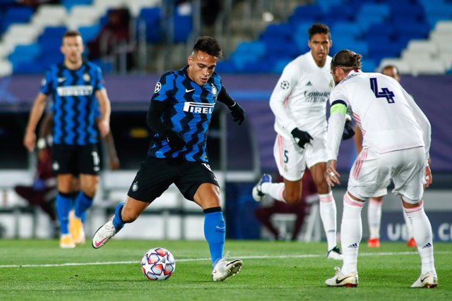 Archivo - Lautaro Martinez of Inter in action during the UEFA Champions League, Group B, football match played between Real Madrid and FC Internazionale Milano at Alfredo Di Stefano stadium on November 03, 2020, in Valdebebas, Madrid, Spain.