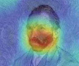 Este mapa de prominencia visualiza los píxeles importantes que utilizó el modelo para predecir el estilo artístico posimpresionista de Van Gogh.