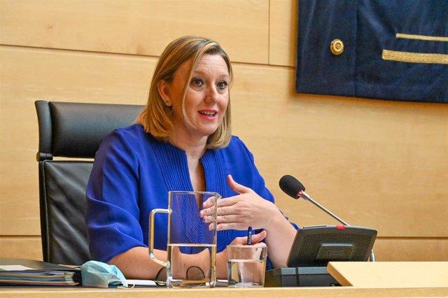 La consejera de Familia e Igualdad de Oportunidades, Isabel Blanco, durante su comparecencia en las Cortes.