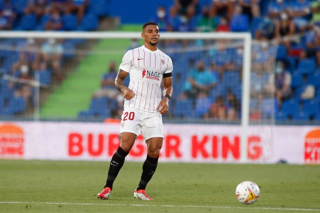 Diego Carlos of Sevilla in action during spanish league, La Liga Santander, football match played between Getafe CF and Sevilla FC at Coliseo Alfonso Perez Stadium on August 23, 2021, in Getafe, Madrid, Spain.