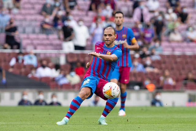 Martin Braithwaite of FC Barcelona in action during the spanish league, La Liga Santander, football match played between FC Barcelona and Getafe CF at Camp Nou stadium on August 29, 2021, in Barcelona, Spain.