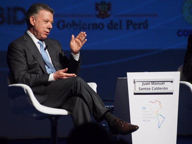 Archivo - Juan Manuel Santos participa en la Cumbre de las Américas en 2018