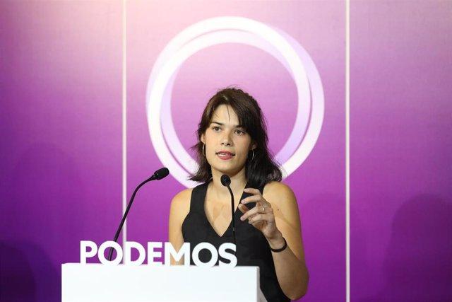 La coportavoz de Podemos, Isa Serra, ofrece una rueda de prensa en la sede del partido, a 13 de septiembre de 2021, en Madrid (España). Durante su comparecencia han anunciado que Podemos presentará una propuesta para reformar el acceso a la carrera judici