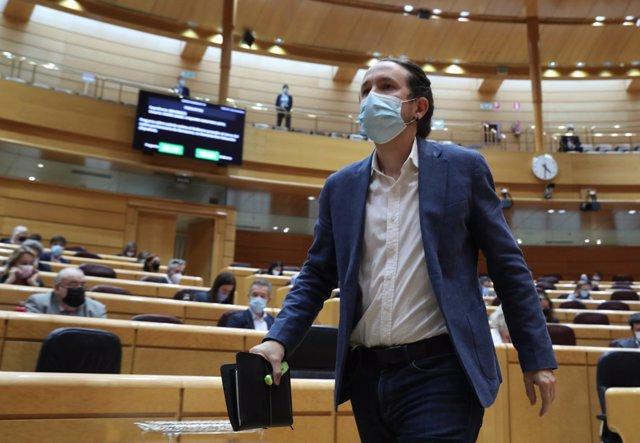 Archivo - El ex vicepresidente del Gobierno Pablo Iglesias durante una sesión de control en el Senado (Imagen de archivo)