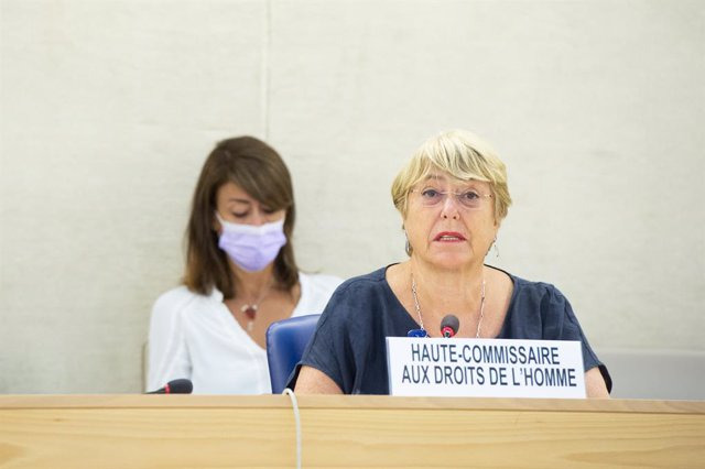 HANDOUT - 13 September 2021, Switzerland, Geneva: United Nations High Commissioner for Human Rights, Michelle Bachelet, addresses the opening of the 48th session of the UNHuman Rights Council, at the European headquarters of the United Nation in Geneva.