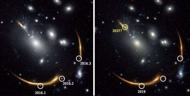La gravedad del cúmulo de galaxias MACS J0138 curva tanto el espacio que la luz de una galaxia detrás de él se inclina hacia nosotros de varias maneras diferentes.