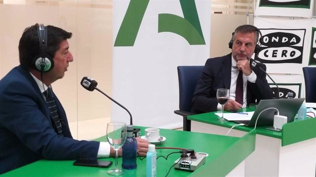 El vicepresidente de la Junta, Juan Marín, este martes durante su entrevista con Carlos Alsina en Onda Cero.