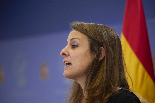 Archivo - La diputada de la CUP en el Congreso, Mireia Vehí, interviene en una rueda de prensa anterior a una Junta de Portavoces