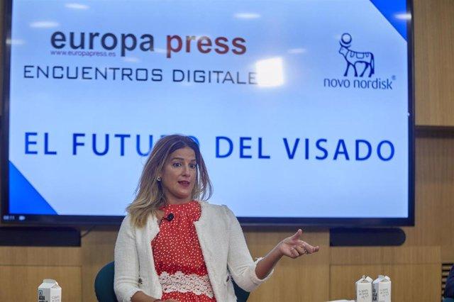 La directora General de Inspección Sanitaria de la Comunidad de Madrid, Elena Mantilla, interviene en un encuentro informativo organizado por Europa Press y Nordisk sobre el futuro del Visado en el Auditorio Meeting Place de Castellana, a 14 de septiembre