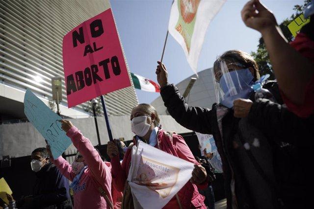 Protesta contra el aborto en México.