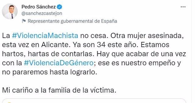 Tuit de Pedro Sánchez condenando violencia machista.
