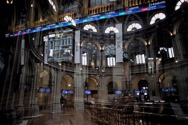 Valores del Ibex 35 en el Palacio de la Bolsa de Madrid, a 6 de septiembre de 2021, en Madrid (España).