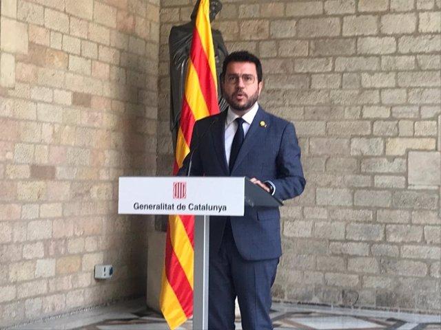 El president de la Generalitat, Pere Aragonès, compareix després del Consell Executiu del dimarts 14 de setembre de 2021.