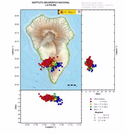 Mapa de la actividad sísmica en La Palma