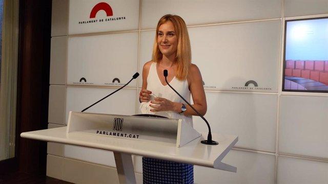 La líder dels comuns al Parlament, Jéssica Albiach, en la roda de premsa